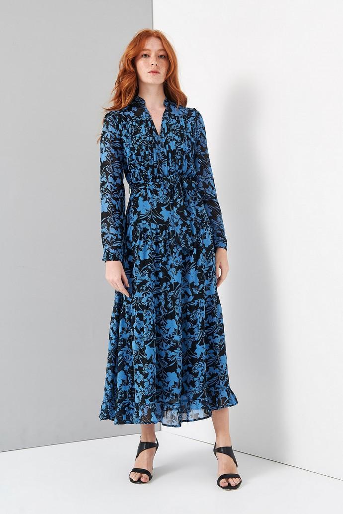 Φλοράλ φόρεμα με ενσωματωμένη ζώνη