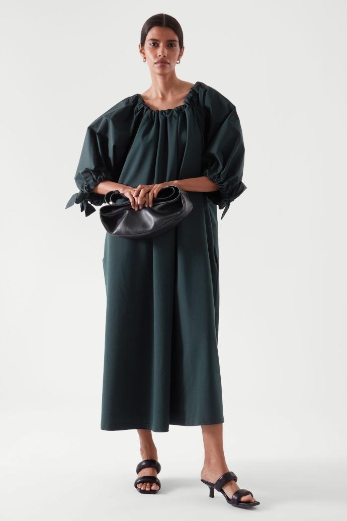 μάξι φόρεμα με φουσκωτά μανίκια και φιόγκους