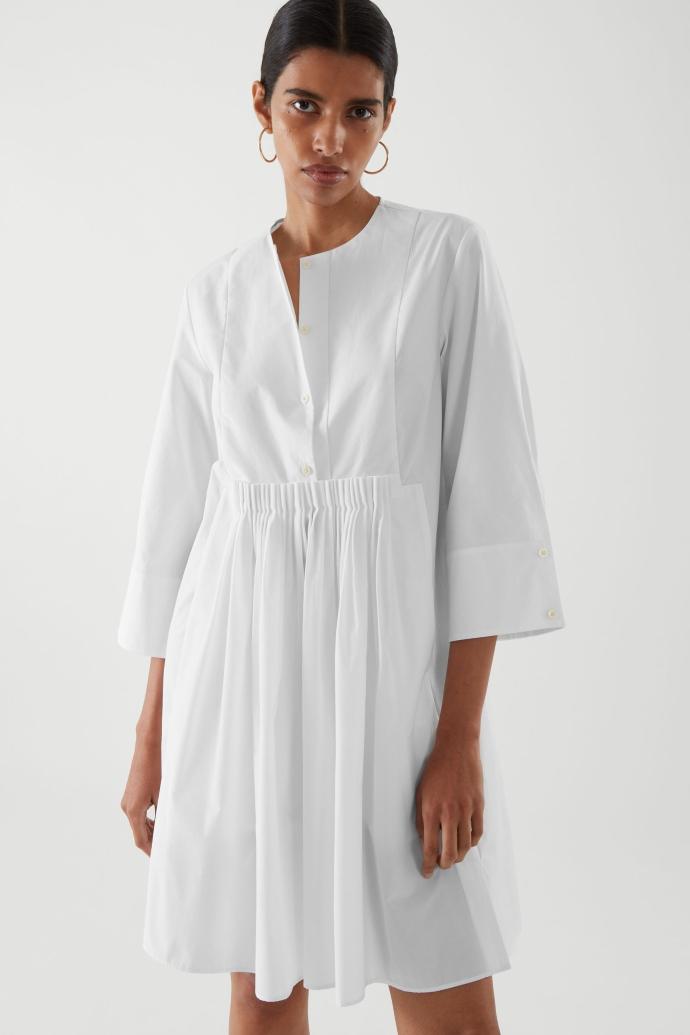 λευκό shirt dress με πιέτες