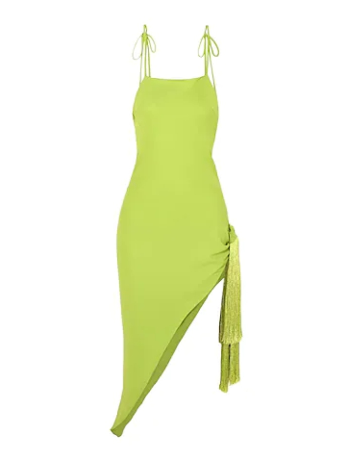 Κοντό φόρεμα με λεπτομέρεια από κρόσσι