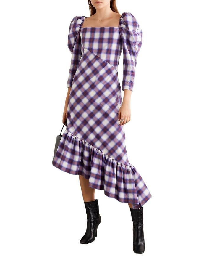 Μίντι καρό φόρεμα με φουσκωτά μανίκια
