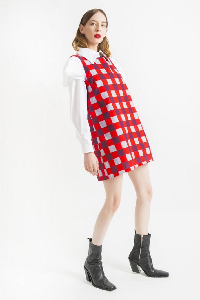 Μίνι καρό φόρεμα