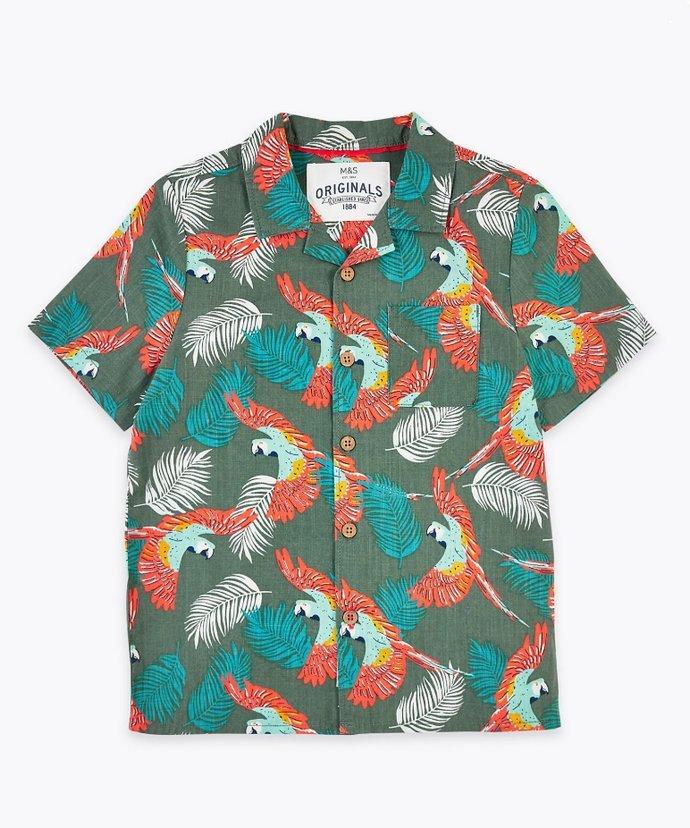 Πουκάμισο με print από παπαγάλους