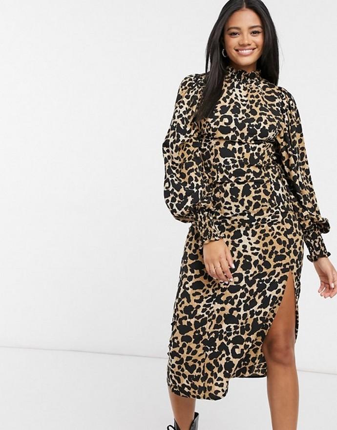 Αnimal print φόρεμα με φουσκωτά μανίκια