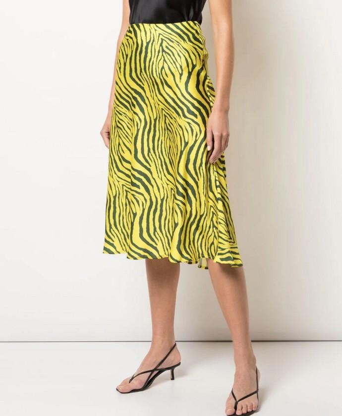 Μίντι σατέν φούστα σε animal print