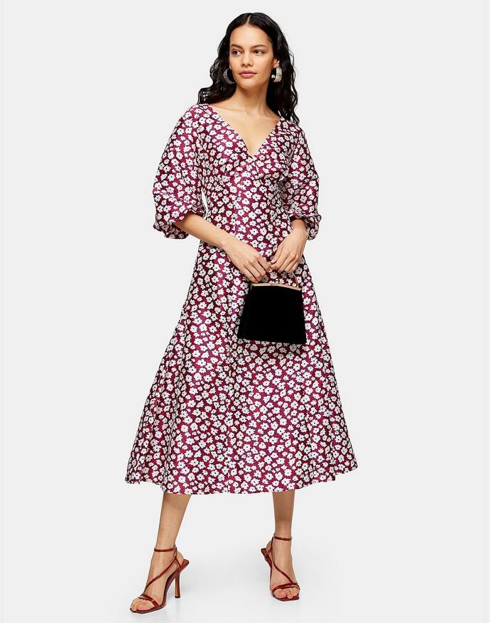 Μίντι φόρεμα με puff sleeves