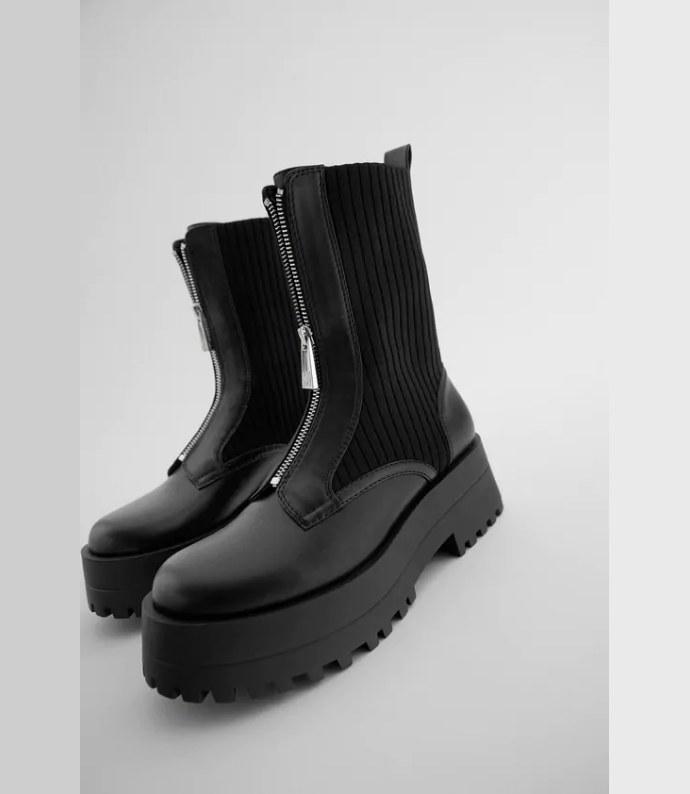 Chunky boots με φερμουάρ