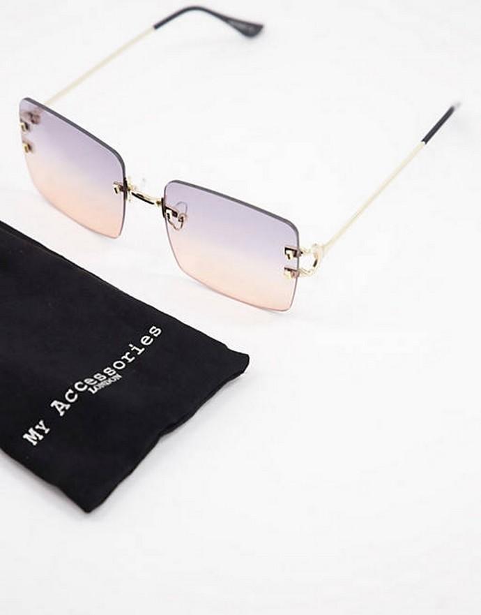 Τετράγωνα γυαλιά με χρωματιστό φακό
