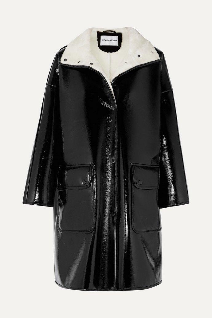 δερμάτινο παλτό με γουνάκι