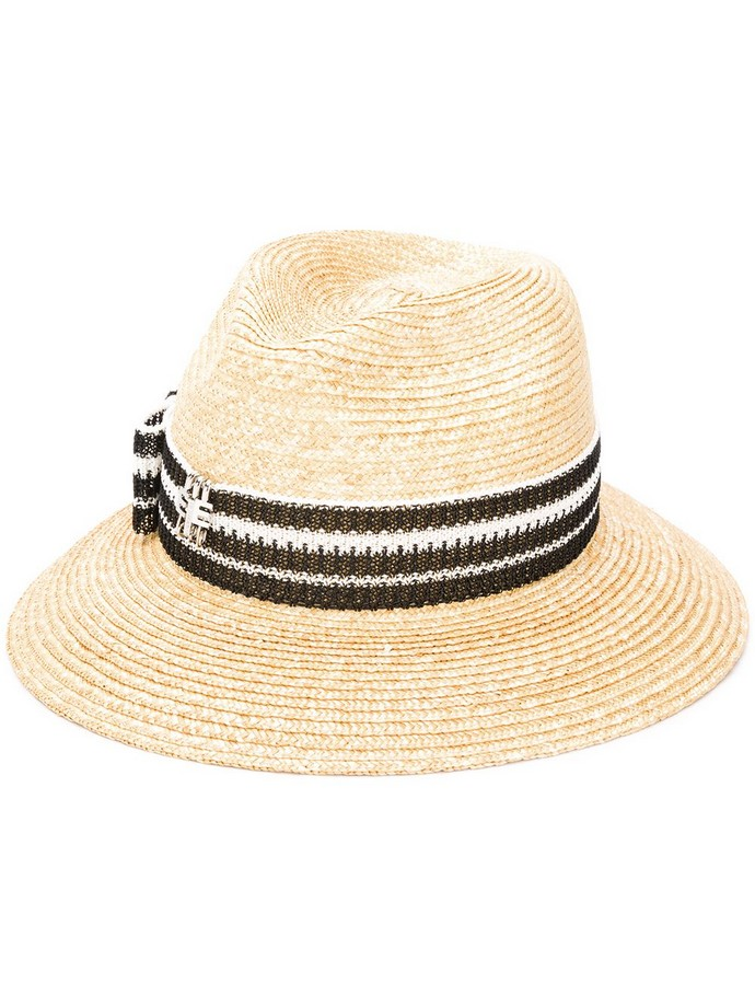 Ψάθινο καπέλο με ριγέ κορδέλα