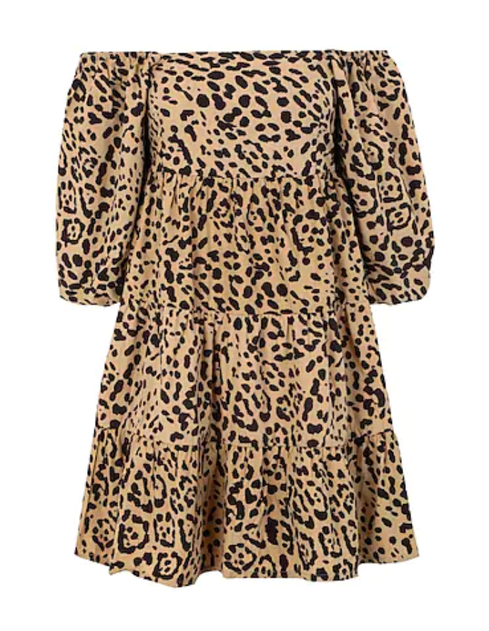 μίνι λεοπάρ φόρεμα με φουσκωτά μανίκια