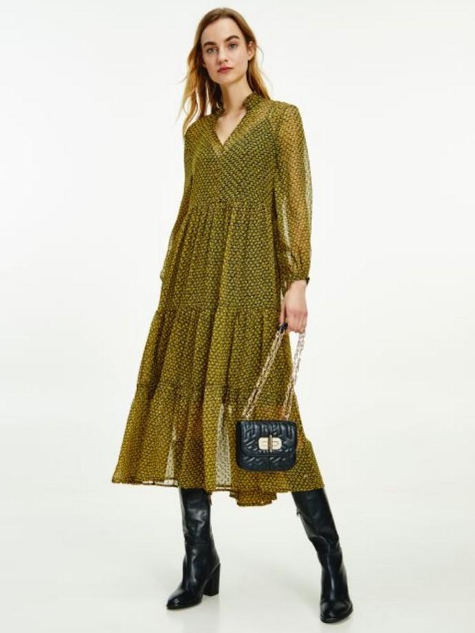 Μίντι φόρεμα με φλοράλ μοτίβο