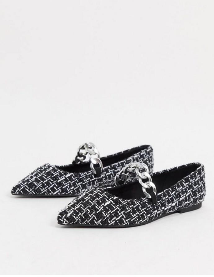 Tweed μπαλαρίνες με αλυσίδα