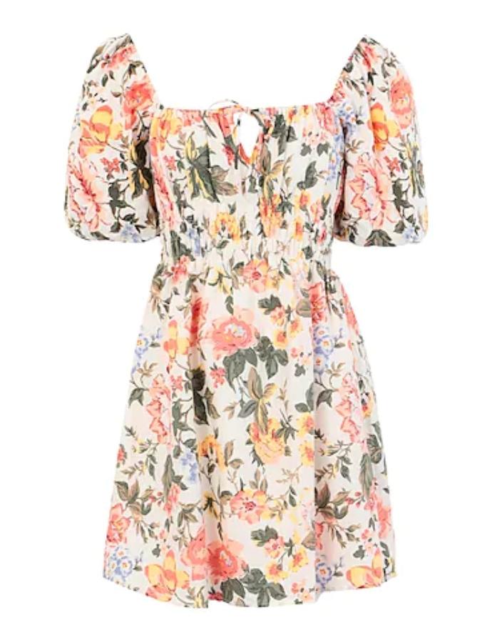 μίνι φόρεμα με φουσκωτά μανίκια