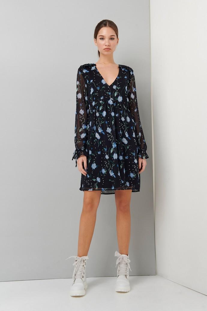 Φόρεμα με V και print από λουλούδια