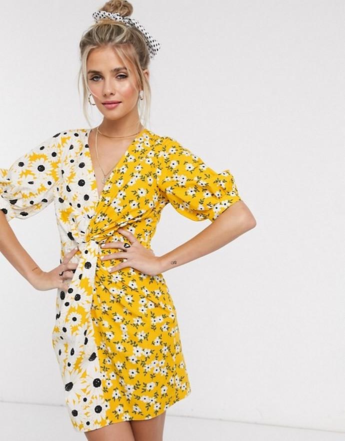 Φόρεμα με δυο διαφορετικά φλοράλ prints