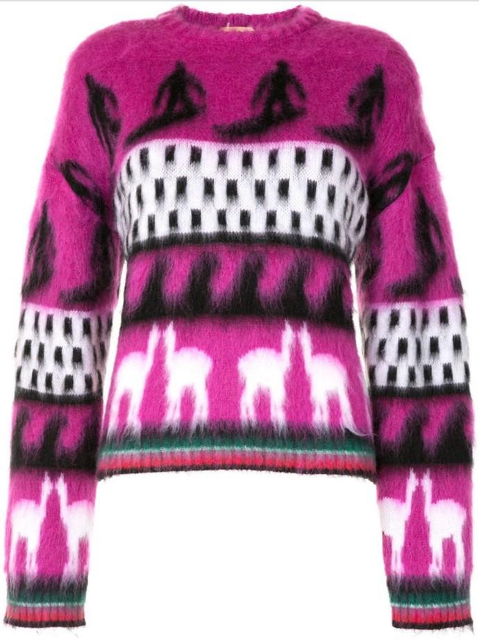 Γούνινο πουλόβερ με print