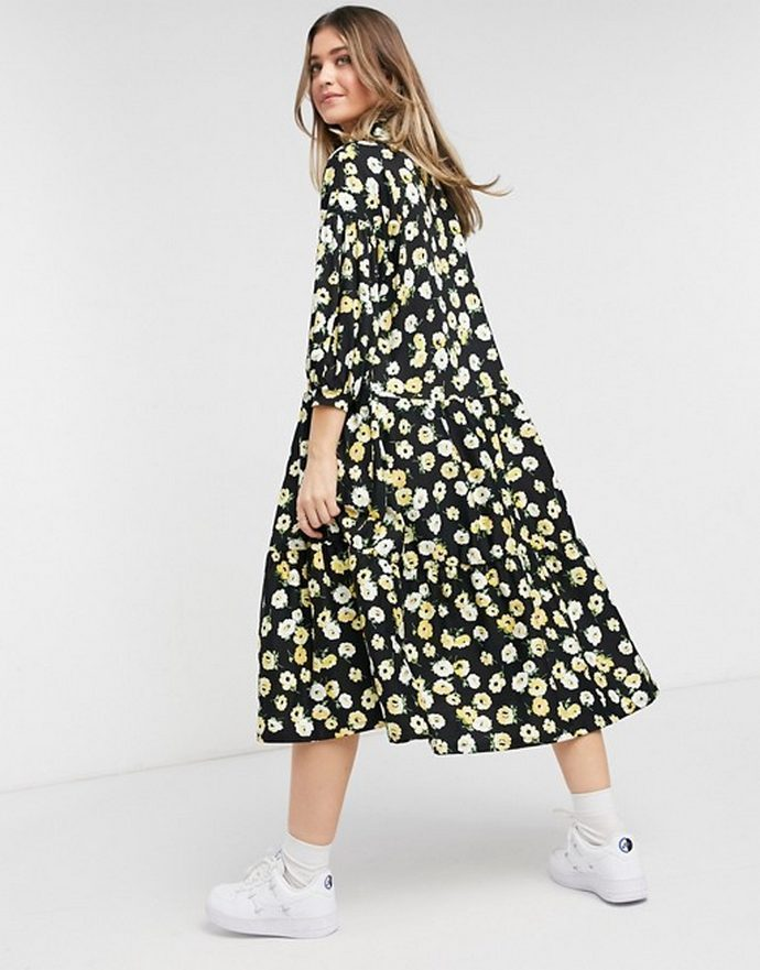 midi smock φόρεμα με λουλούδια
