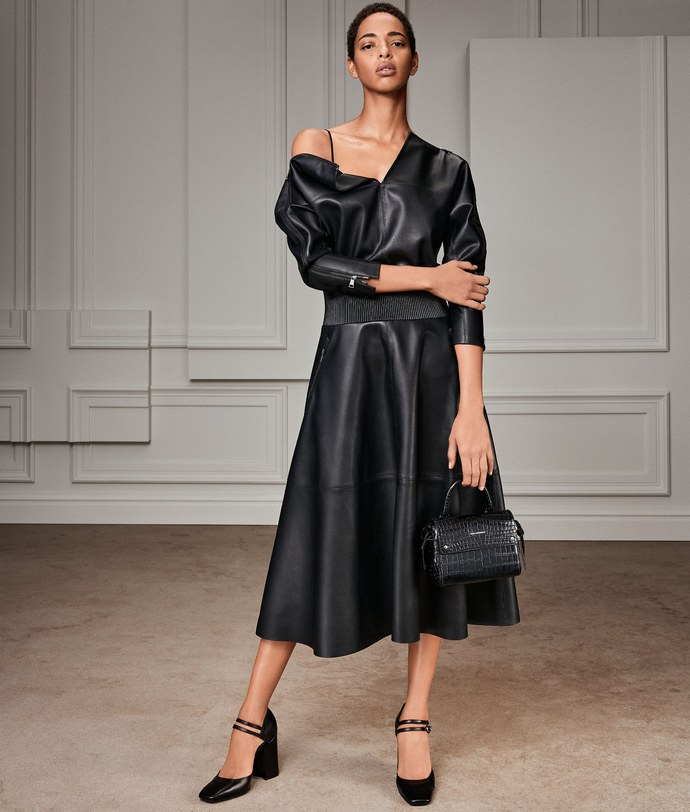 Δερμάτινο μίντι φόρεμα
