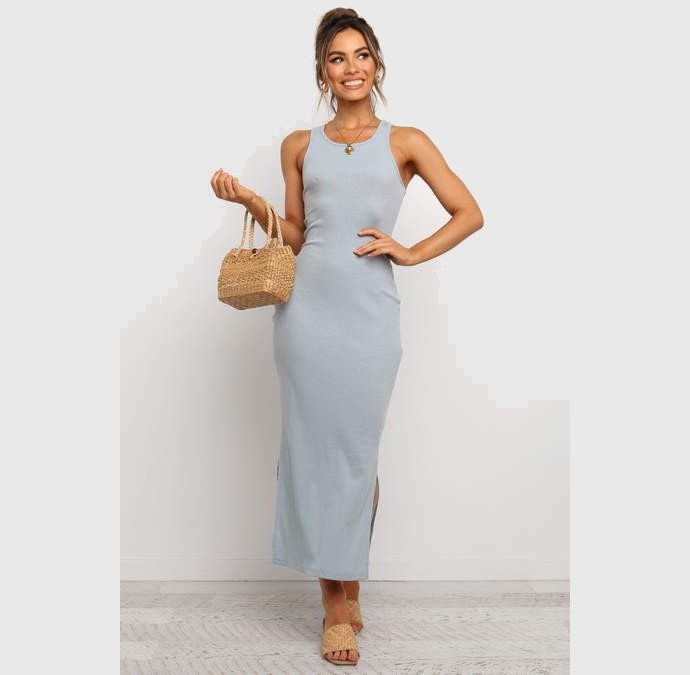 Ribbed φόρεμα αμάνικο