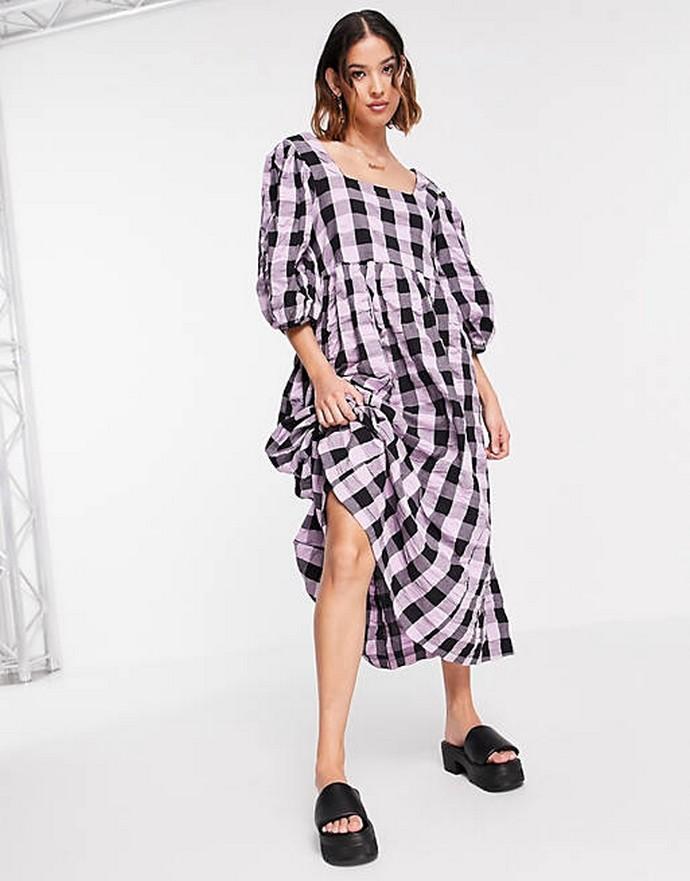 Smock φόρεμα με φουσκωτά μανίκια