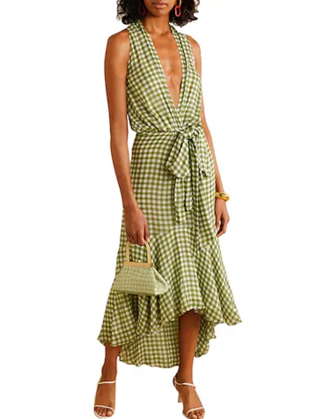 Φόρεμα gingham με βαθύ ντεκολτέ