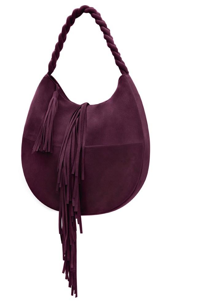 Τσάντα ώμου fringe O-bag από μαλακό suede και υπέροχα bohemian κρόσσια