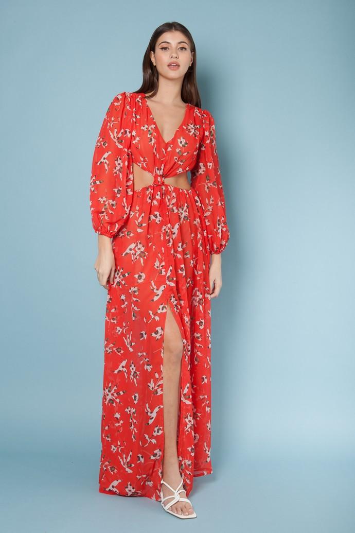 Φλοράλ φόρεμα με cut-outs
