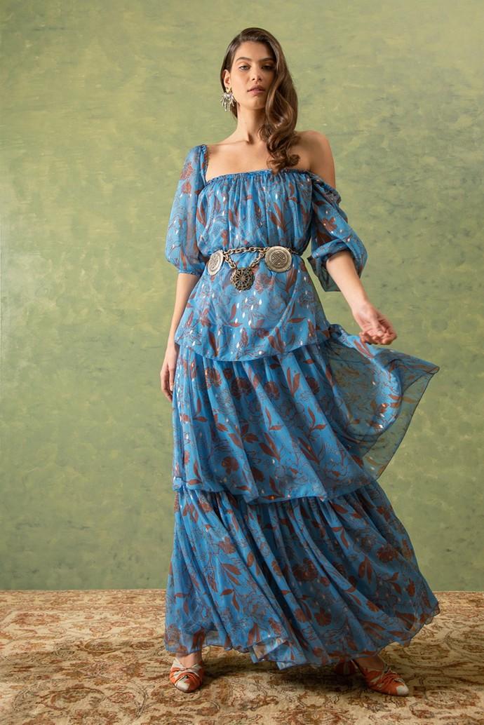 Printed φόρεμα με βολάν