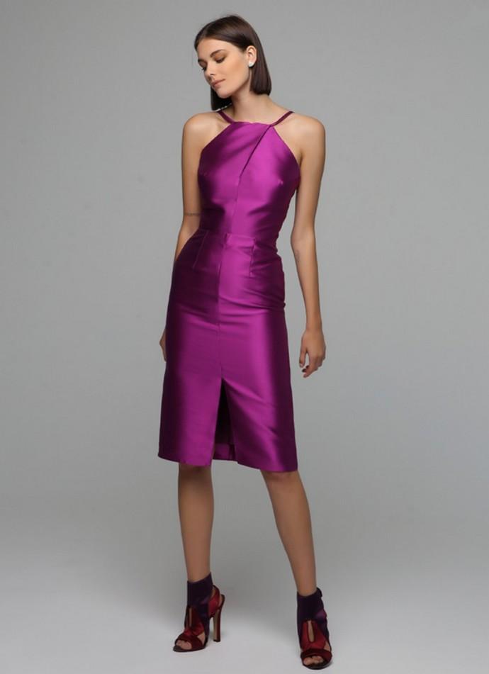 Halter neck σατέν φόρεμα