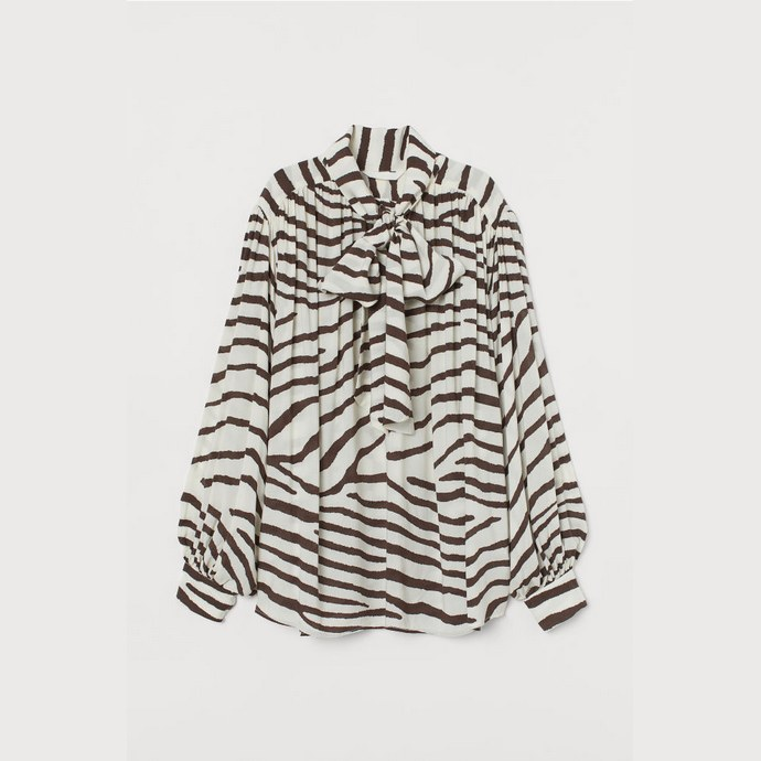 Zebra print pussy bow μπλούζα