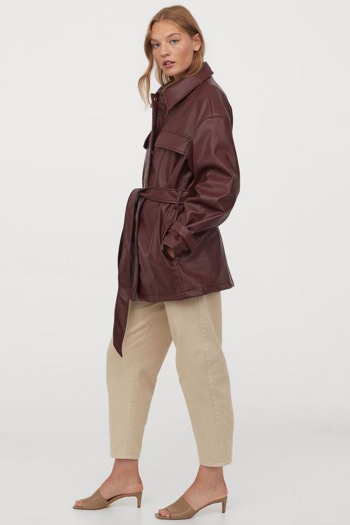 Leather look jacket με ζώνη
