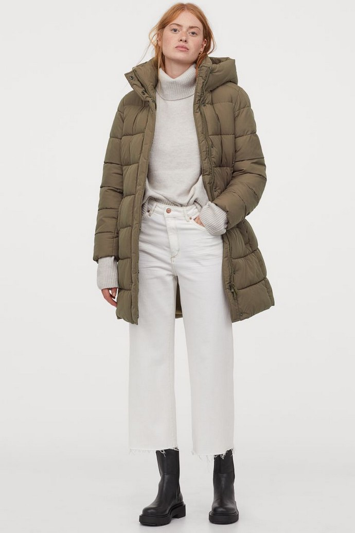 Puffer jacket με κουκούλα σε χακί απόχρωση