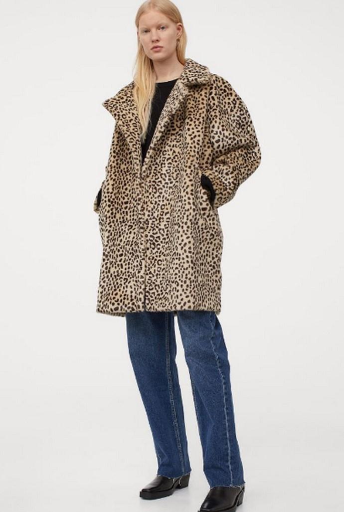 Faux fur πανωφόρι με λεοπάρ μοτίβο