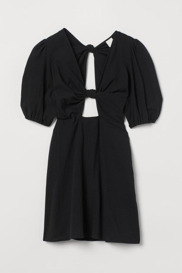 Βαμβακερό φόρεμα με cut outs και φουσκωτό μανίκι