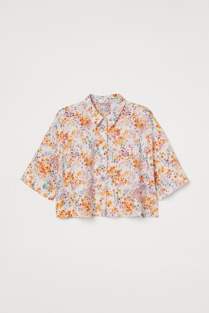 Cropped φαρδύ λινό πουκάμισο
