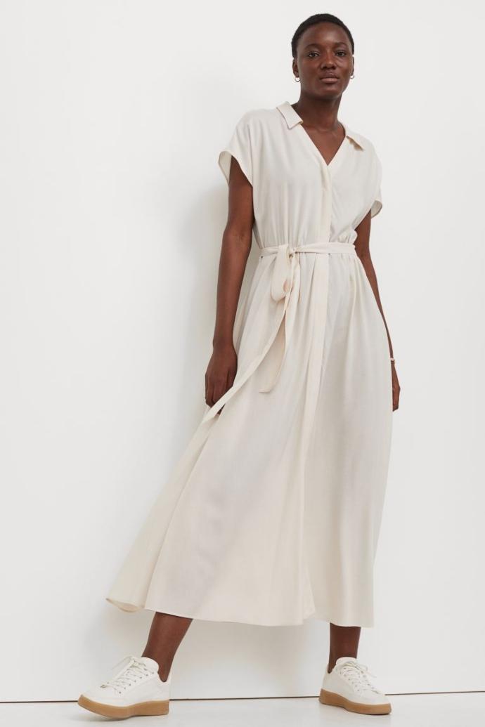 Σεμιζιέ φόρεμα με δετή ζώνη