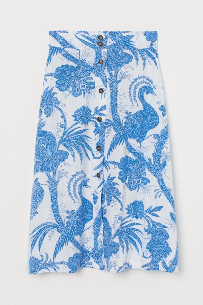 μίντι φούστα από σύμμεικτο λινό με λευκό και μπλε μοτίβο