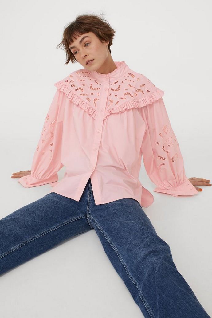 πουκάμισο με γιακά από broderie δαντέλα