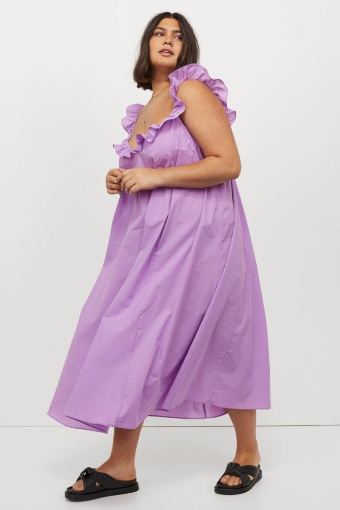 Μίντι φόρεμα με βολάν από βαμβακερό ύφασμα