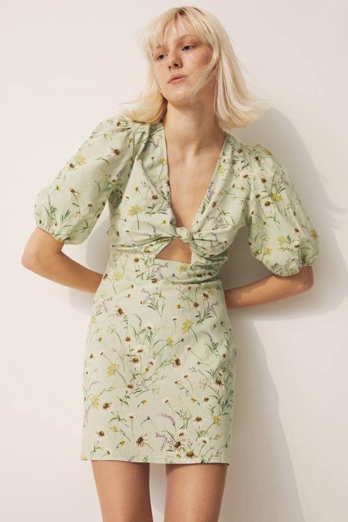Φόρεμα από σύμμεικτο λινό σε ανοιχτό πράσινο/φλοράλ