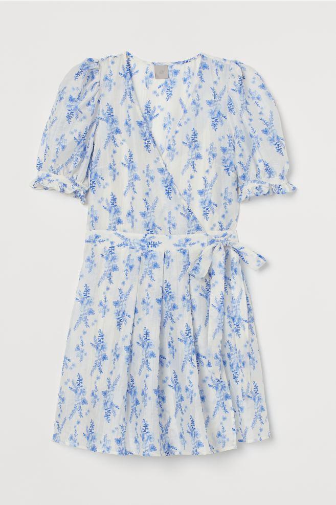 Φόρεμα wrap μίνι με floral σε άσπρο και γαλάζιο