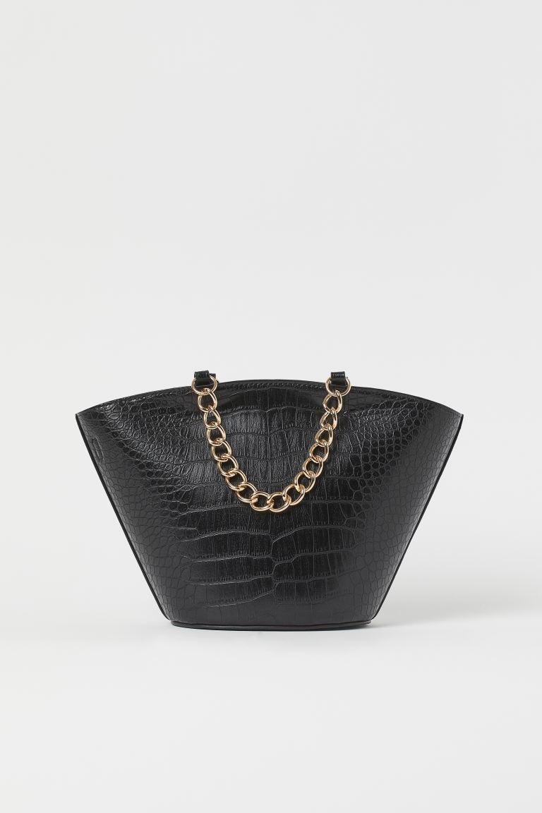Mini shopper croco τσάντα με αλυσίδα
