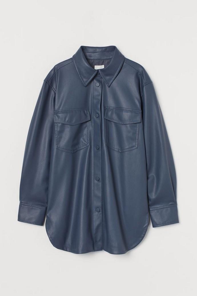 faux leather shirt jacket