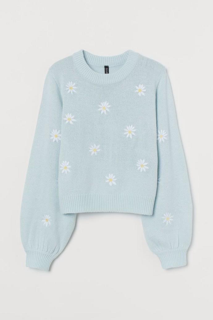 πουλόβερ με κεντημένα λουλούδια