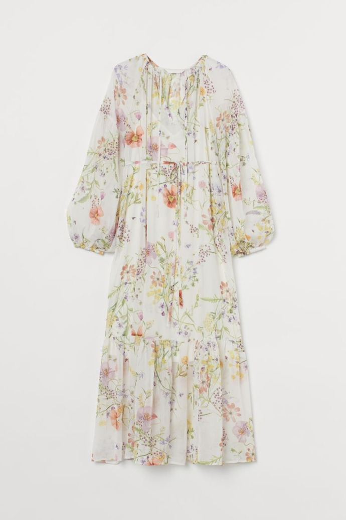 ΜΑΜΑ μίντι φλοράλ φόρεμα με χρυσοκλωστή - Κρεμ/φλοράλ