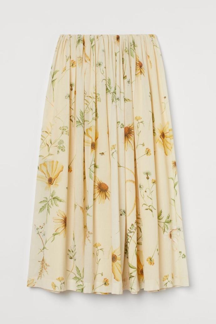 Εβαζέ μίντι φούστα με όγκο σε ανοιχτό κίτρινο/φλοράλ