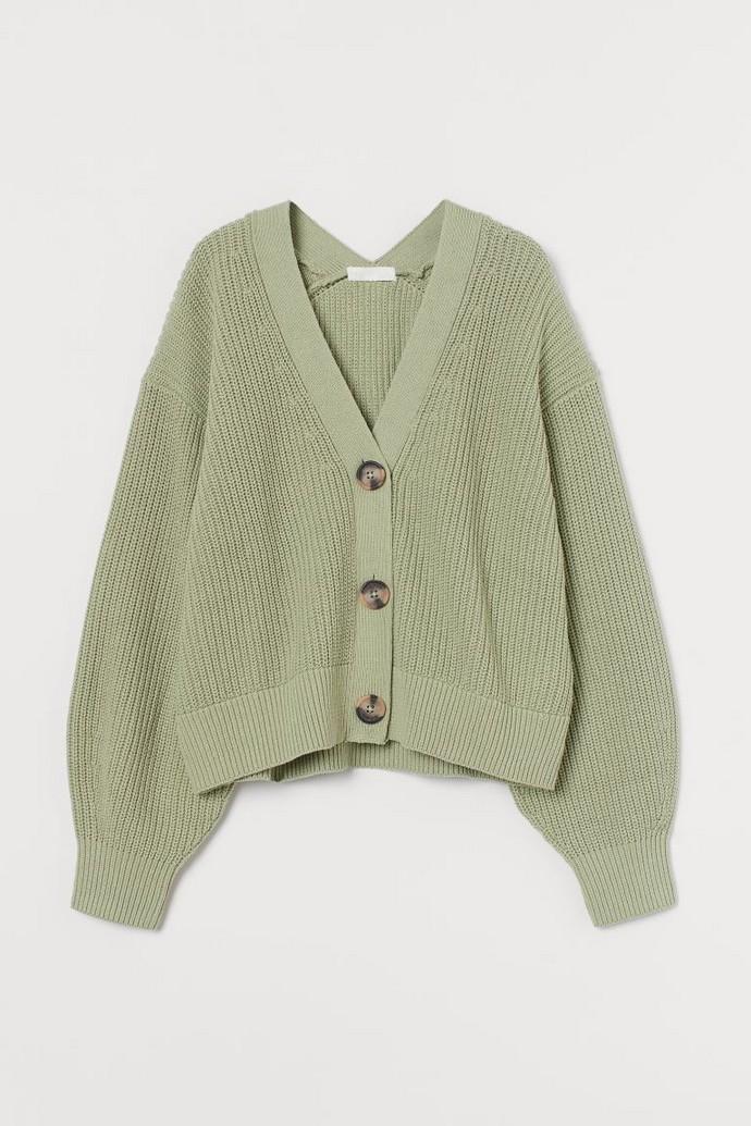 Rib-knit cardigan σε ανοιχτό πράσινο