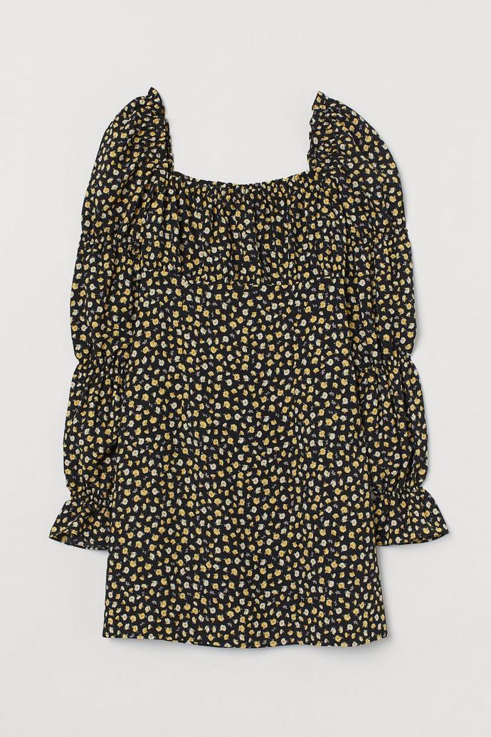 mini φόρεμα με λουλούδια σε μαύρο και κίτρινο