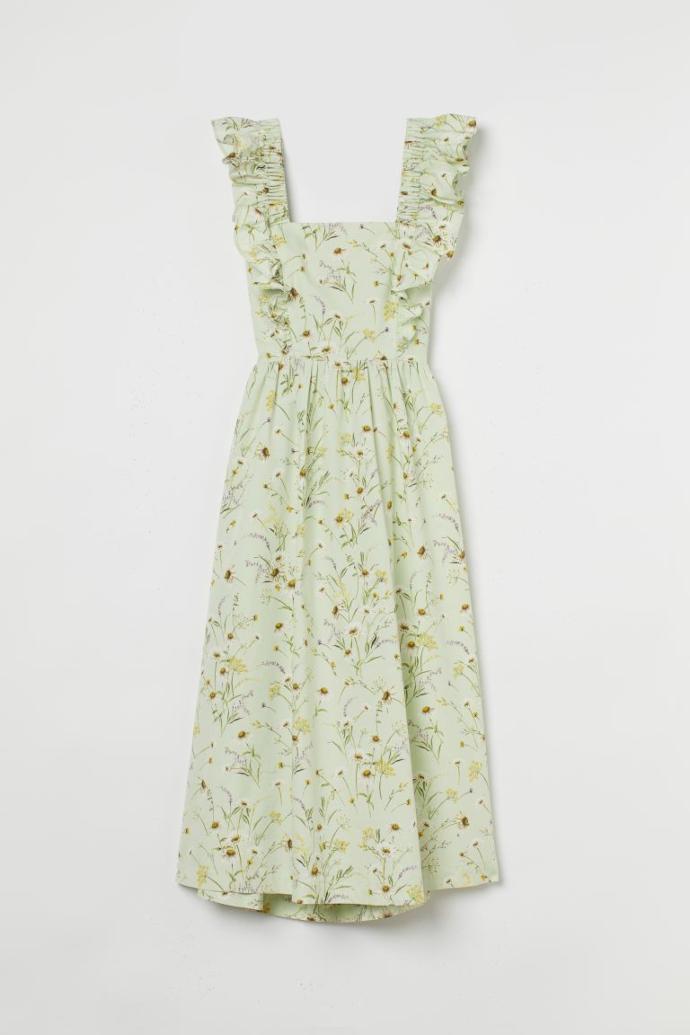φόρεμα από ποπλίνα με λουλούδια και διακοσμητικό φιόγκο στην πλάτη